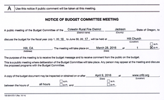 Notice of CRFD Budget Committee Meeting on 28 March 2016