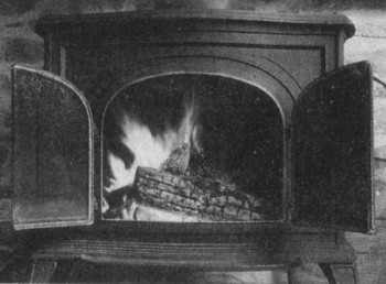 A typical wood-burning stove used for home heating