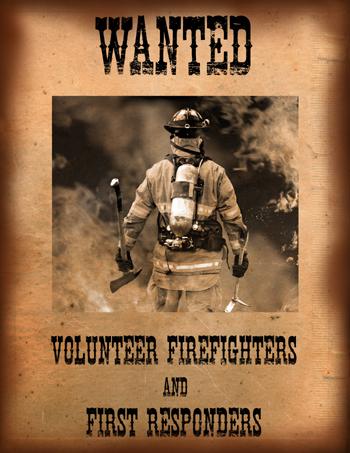 "Training 2017 poster: ""Wanted - Volunteer Firefighters and First Responders !"""
