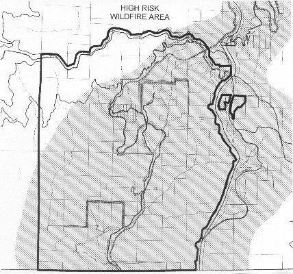 Map of Colestin Rural Fire District boundaries and overlapping High Risk Wildfire Area