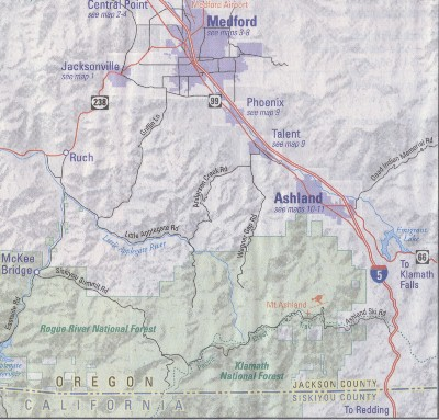 Regional map of District area: California - Oregon border north to Medford