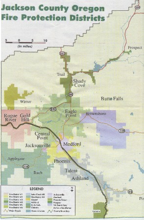 Jackson County, Oregon, Fire Protection Districts; Colestin below, center.