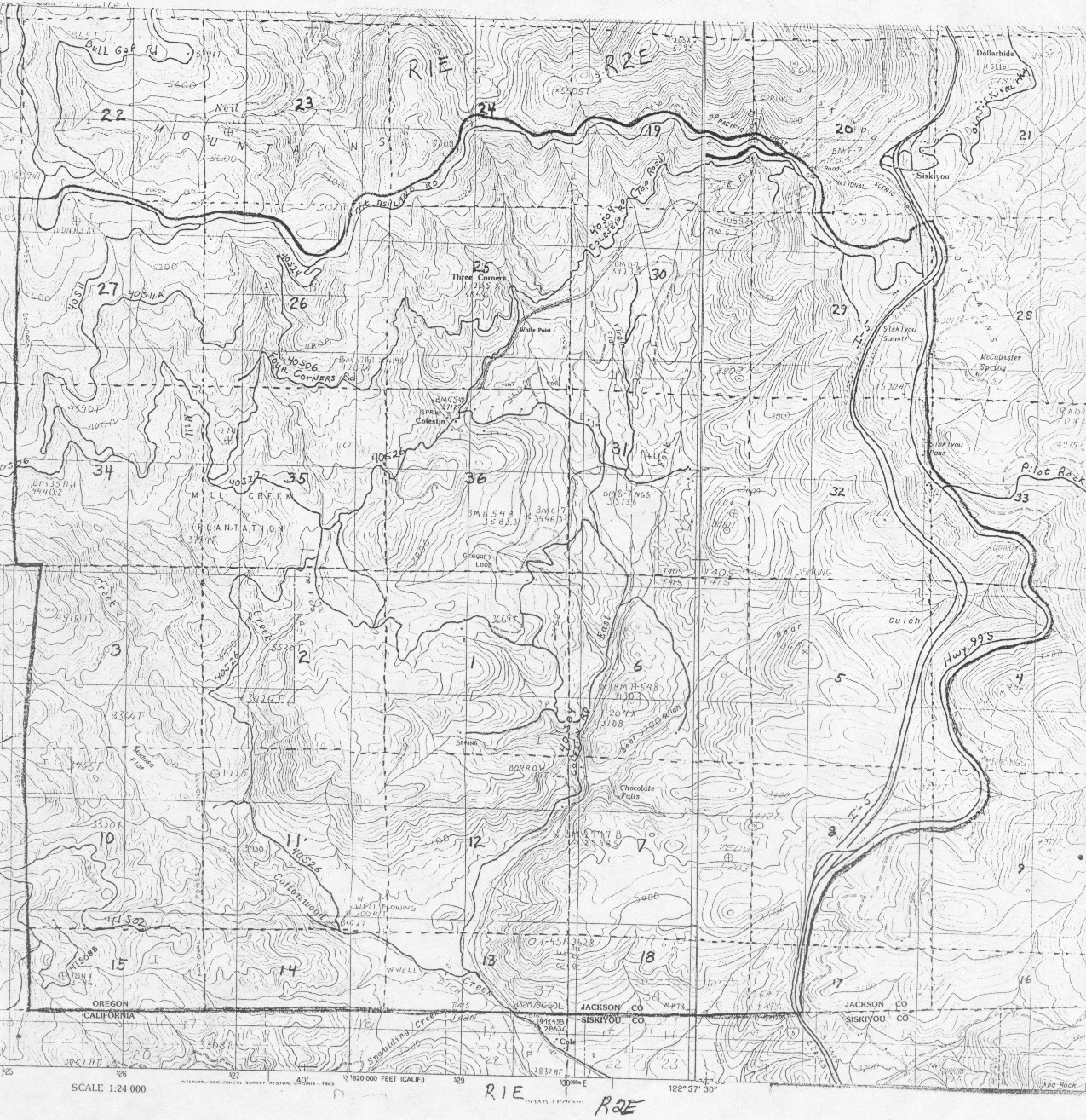 Large topographic map of the District